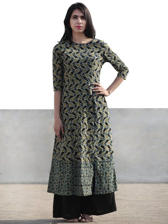 Green Black Indigo Hand Printed Ajrakh Kurta With Front Slit - K60F1174