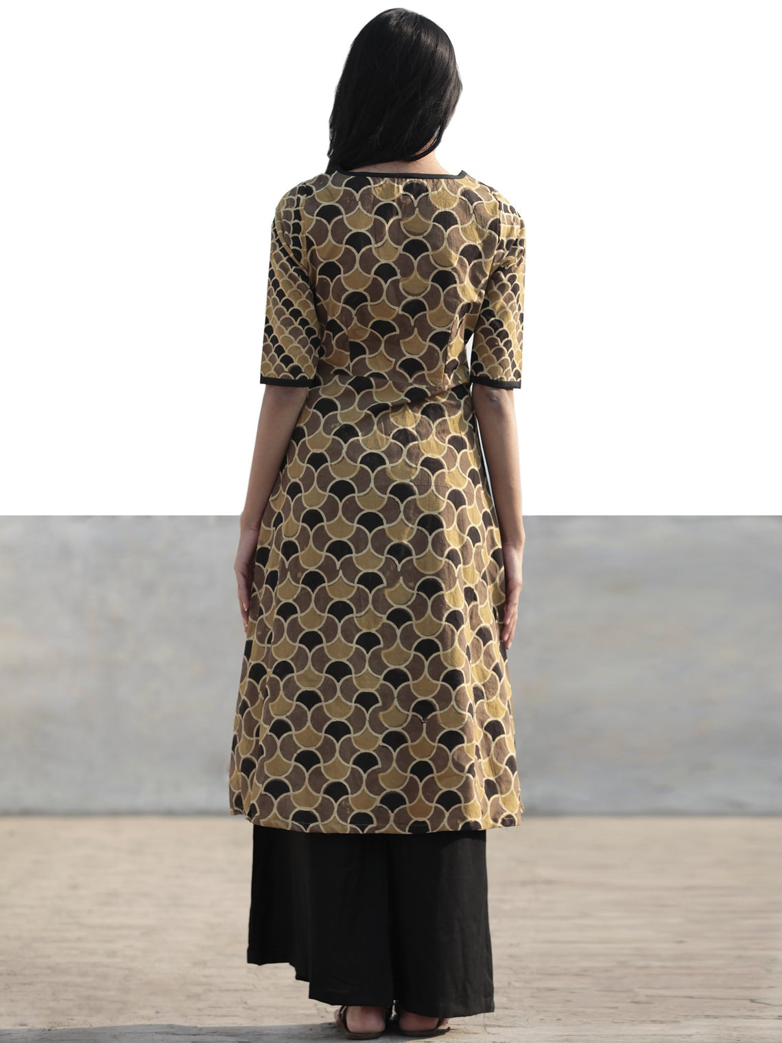 Light Brown Black Olive Green Hand Printed Ajrakh Kurta With Front Slit - K61F1186
