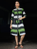 Shirt Style : Handwoven Double Ikat Shirt Dress With Front Pockets - D239F933