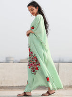 Light Green Multicolor Aari Embroidered Kashmere Free Size Kaftan in Crushed Cotton - K11K076