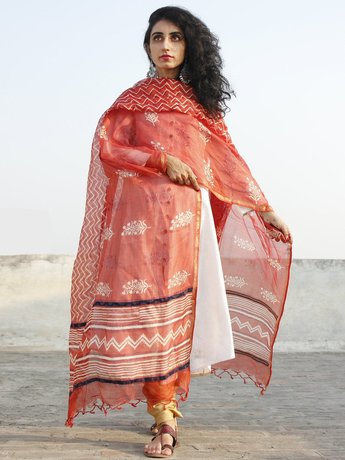Rust Red Ivory Kota Silk Hand Black Printed Dupatta With Ajrakh Printed Stitched Highlighting  - D04170130