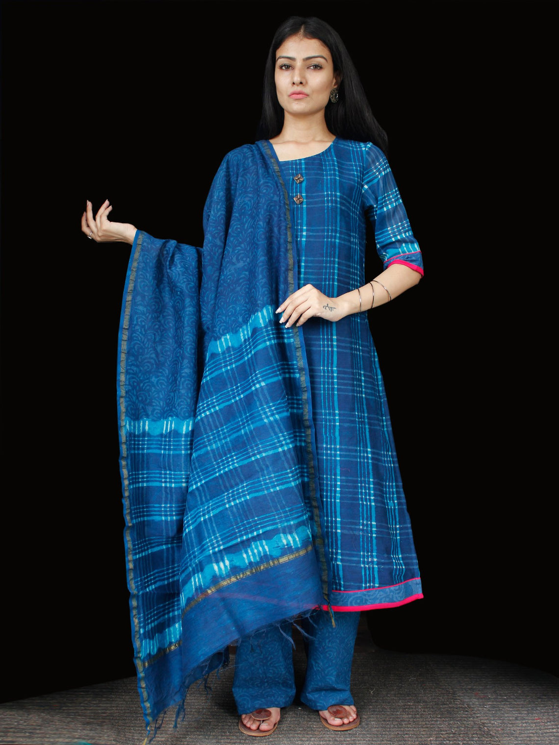 Indigo Blue Chanderi Block Printed Suit Set - Set of 3 - SS01F004
