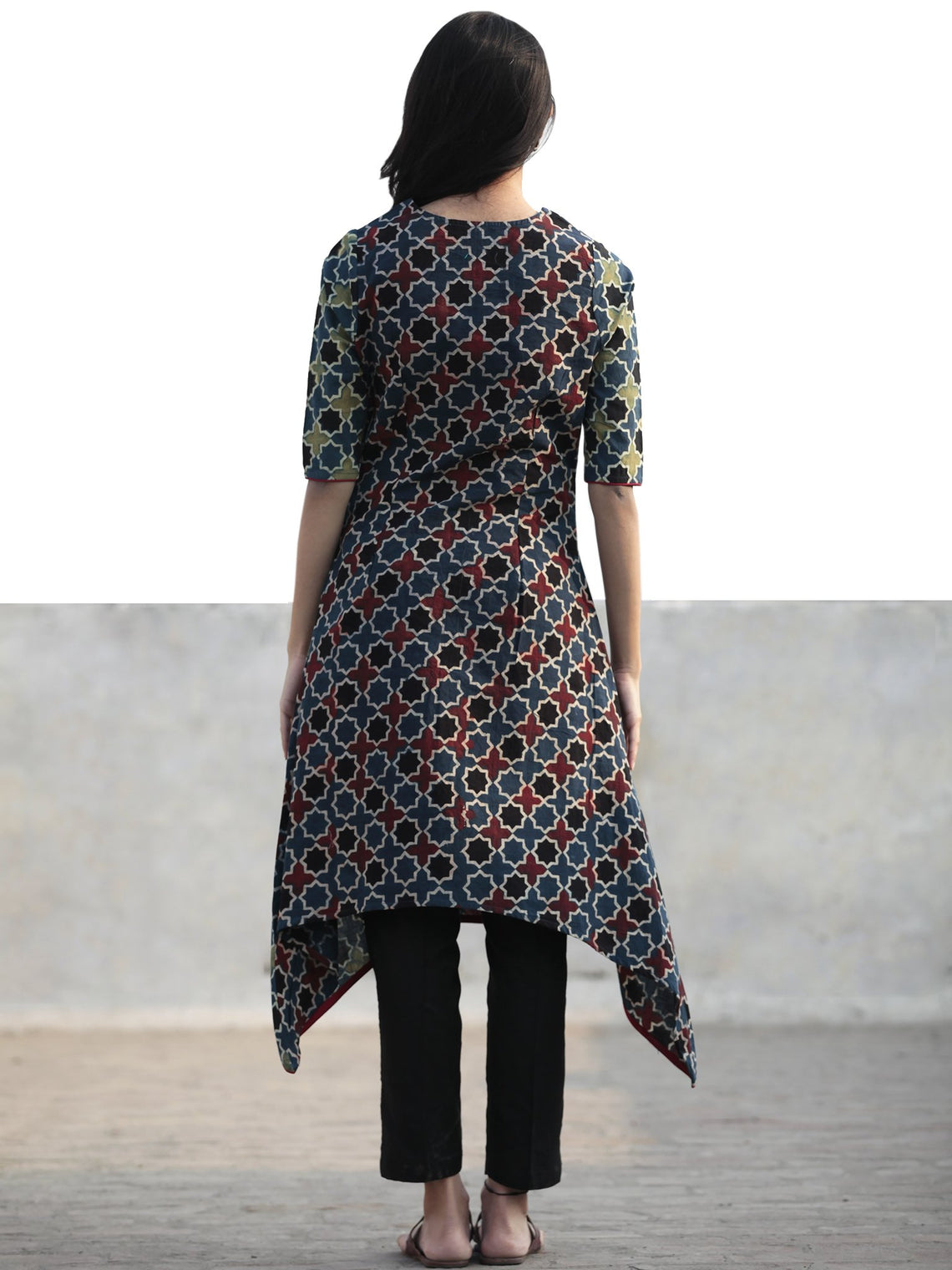 Green Indigo Black Red Hand Printed Ajrakh Kurta - K50F1162