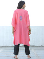 Peach Lilac Purple Aari Embroidered Kashmere Free Size Kaftan in Crushed Cotton - K11K055