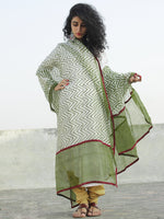 Asperous Green Ivory Kota Silk Hand Black Printed Dupatta With Ajrakh Printed Stitched Border - D04170132