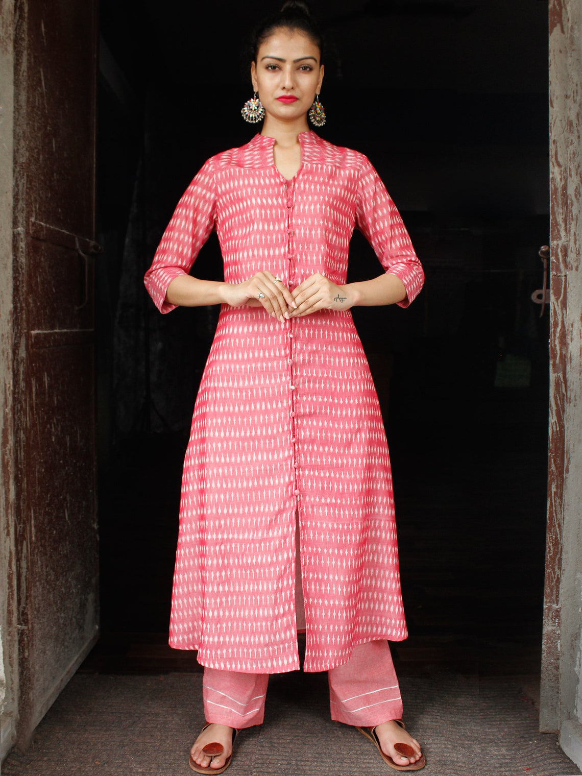 Pink Ivory Hand Woven Ikat Kurta & Pants With Zari Embroidery (Set of 2)  - SS01F1563