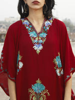 Maroon with Sky blue & Green Aari Embroidered Long Kashmere Free Size Kaftan in Crushed Cotton - K11K006