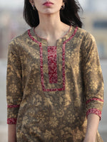 Light Brown Red  Hand Block Printed Kurta - K56F609