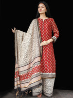 Red Black Beige Chanderi Block Printed Suit Set - Set of 3 - SS01F007