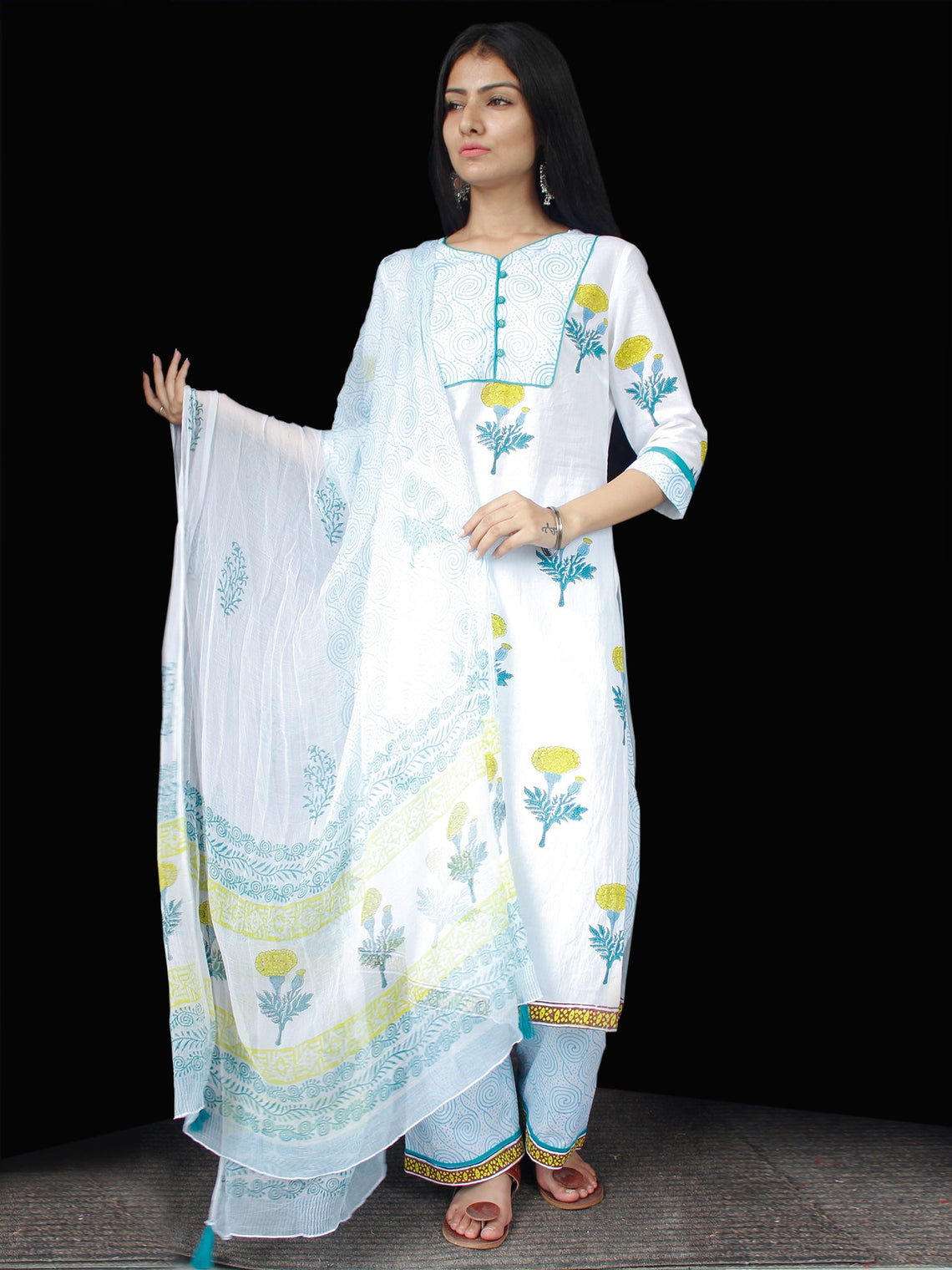 White Sky Blue Yellow Cotton Block Printed Suit - Set of 3 - SS01F008
