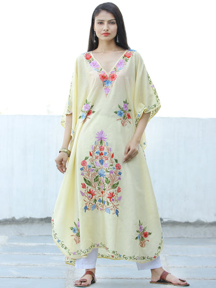 Ivory Aari Embroidered Kashmere Free Size Long Kaftan in Crushed Cotton - K11K058