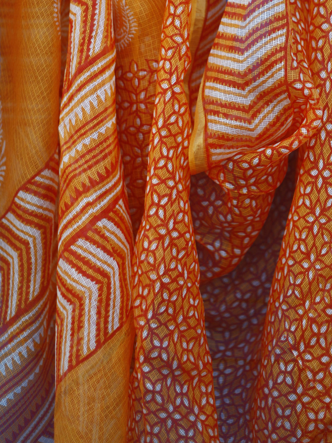 Orange Ivory Kota Silk Hand Black Printed Dupatta With Ajrakh Printed Stitched Border - D04170135