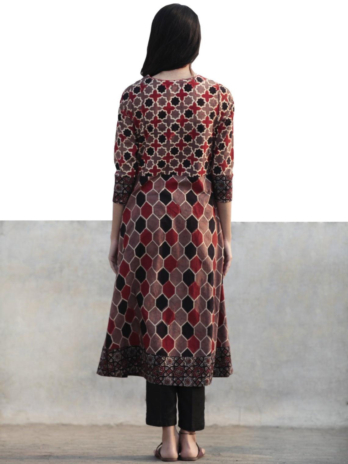 Light Brown Black Red Ivory Hand Printed Ajrakh Kurta  - K54F1166