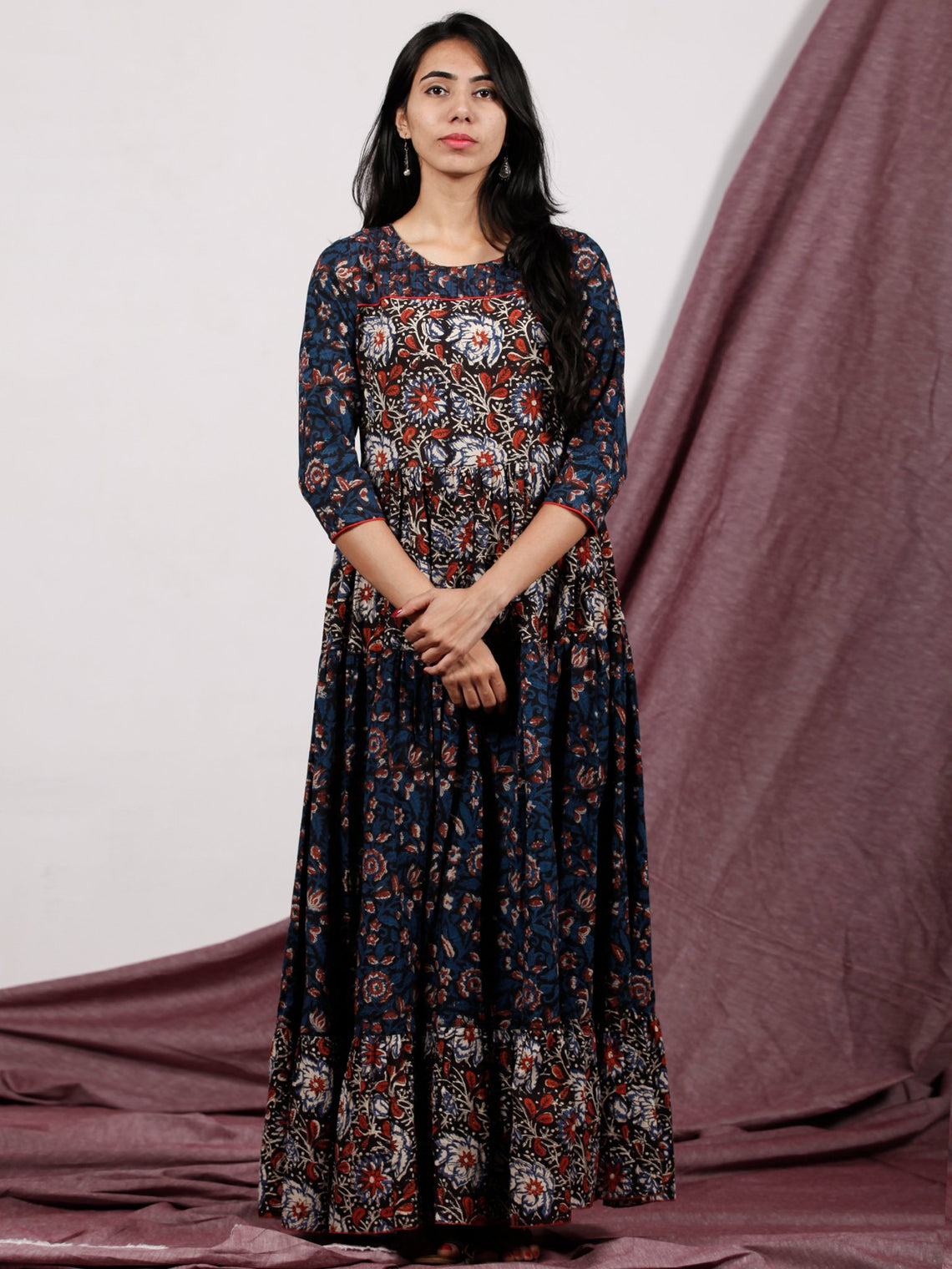 Indigo Black Rust Ivory Hand Block Printed Long Cotton Tier Dress With Pin Tuck Neck - D221F1320