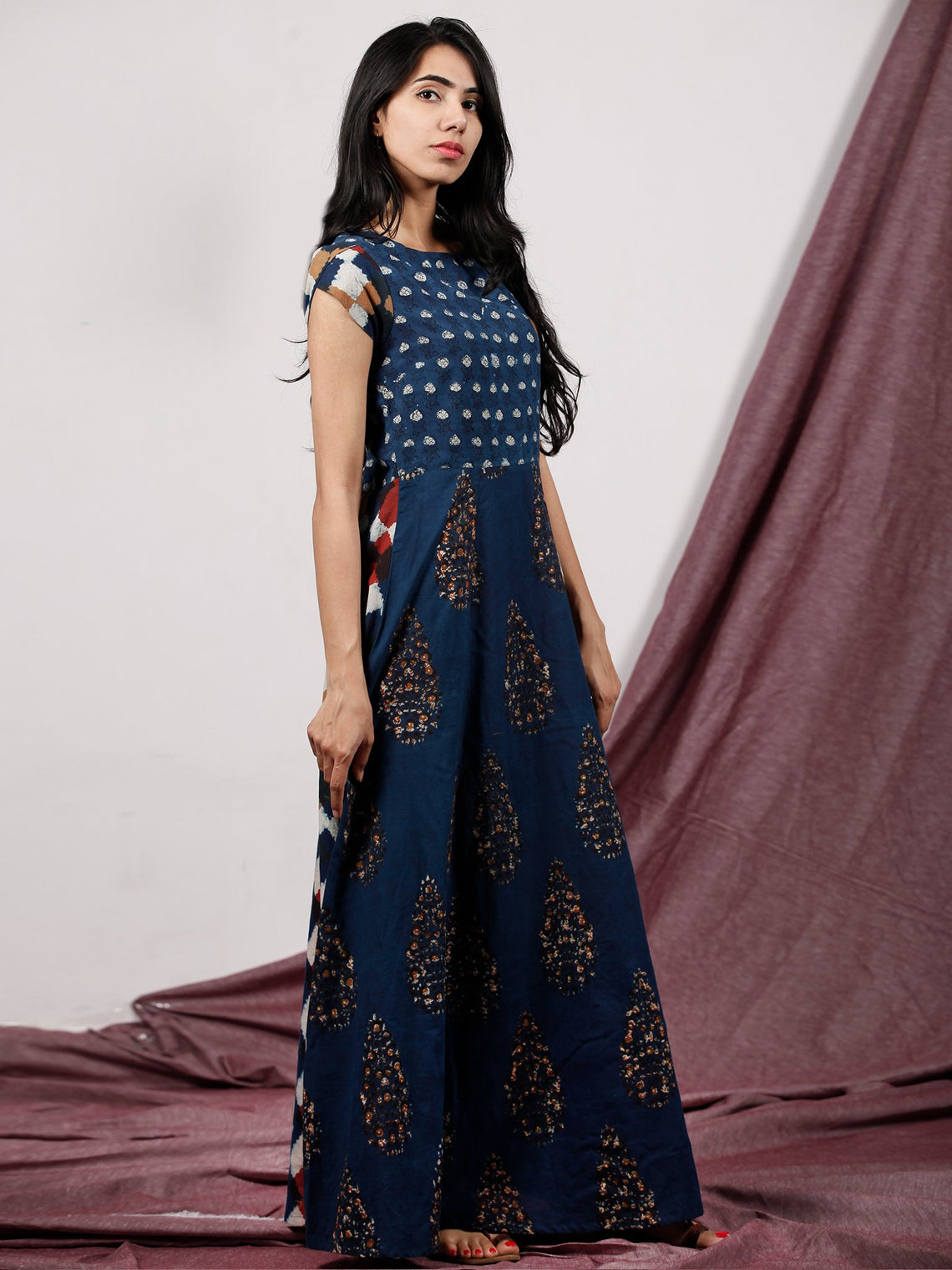 Indigo Rust Ivory Maroon Hand Block Printed Long Cotton Panel Dress With Petal Sleeves  - D224F1321