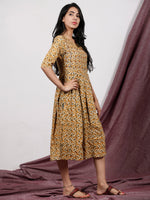 Rust Orange Grey Ivory Hand Block Printed Midi Length Dress - D223F1325