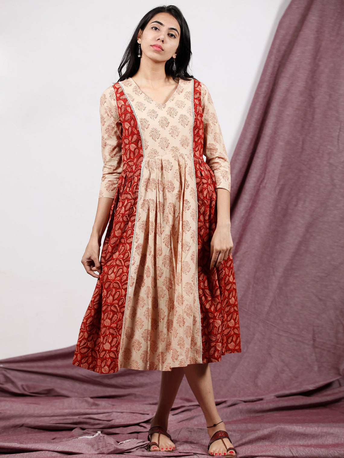 Red Maroon Beige Hand Block Printed Dress With Front Box Pleates - D231F1322
