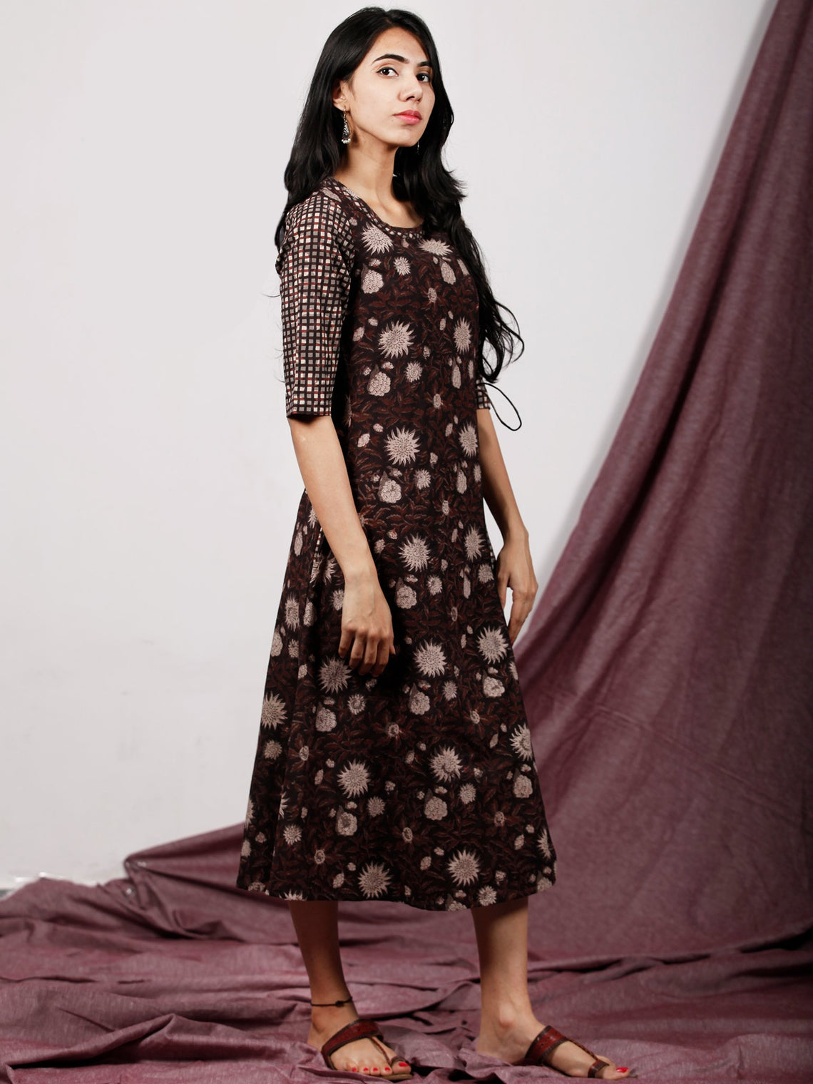 Brown Grey Black Ivory Hand Block Printed Midi Length Cross Over Dress With Side Pockets - D225F1330