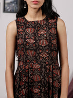 Black Grey Maroon Ivory Long Hand Block Printed Cotton Dress With Knife Pleats & Side Pockets - D32F1328