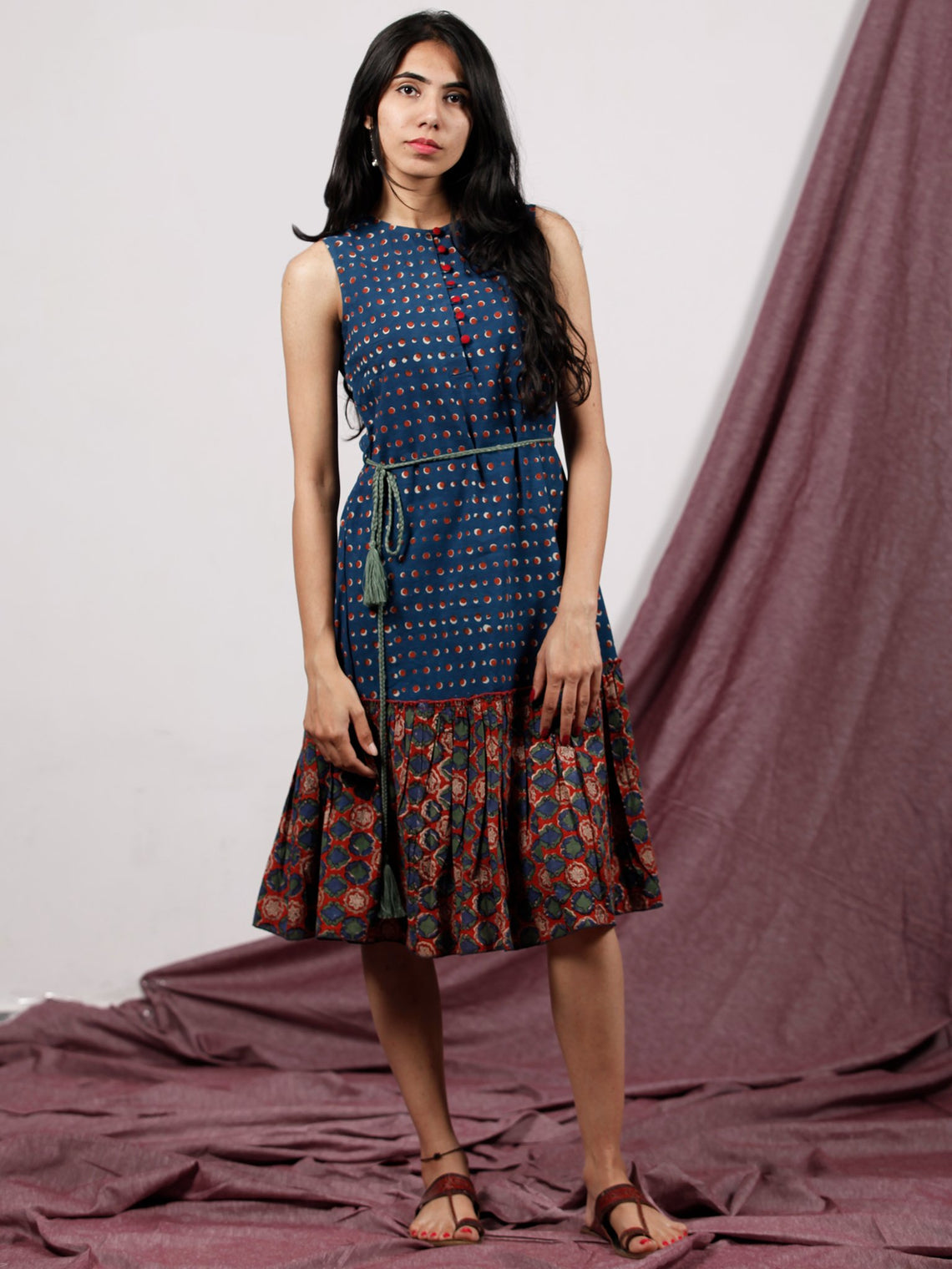 Indigo Red Green Hand Block Printed Sleeveless Dress With Tassels - D230F1317