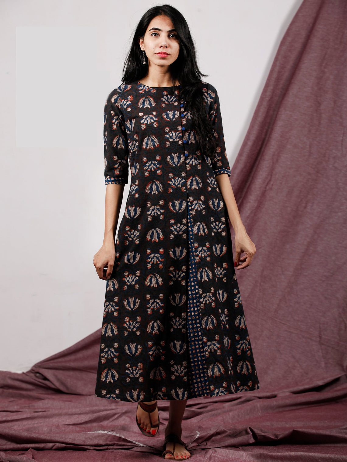 Coffee Brown Rust Beige Hand Block Printed Long Cotton Dress With Side Pleat- D187F1327