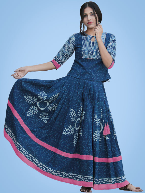 Rukshaar - Hand Block Printed Long Top And Skirt Dress - DS79F003