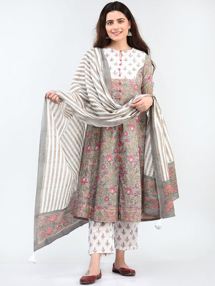 Zohra Tareen - Set of Kurta Pants & Dupatta - KS69B2503D