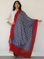 Indigo Blue Red Double Ikat Handwoven Pochampally Cotton Dupatta -  D04170139