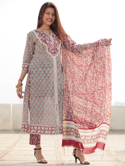 Jashn Noor - Set of Kurta Pants & Dupatta - KS78BXXXD