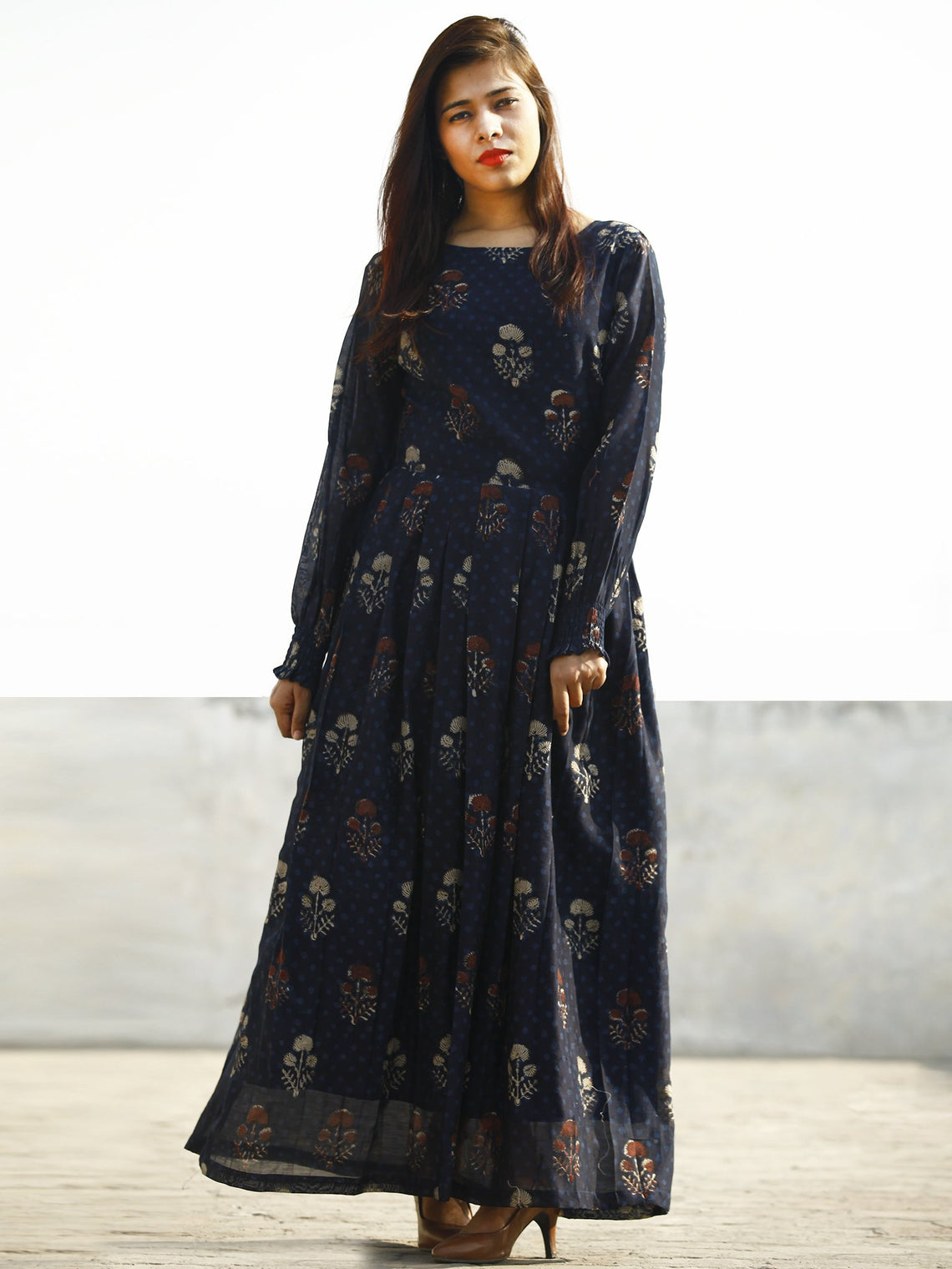 Indigo Rust Beige Hand Block Printed Chanderi Silk Dress With Box Pleats & Shirring Details at Sleeves (With Lining) - D178F1141