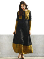 Black Beige Green Long Ikat Cotton Rayon Dress With Knife Pleats -  D168F858