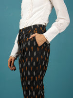 Black Orange White Hand Woven Ikat Chinos Pants - T032F808
