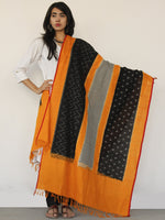 Rust Orange Black Ikat Handwoven Pochampally Cotton Dupatta -  D04170150
