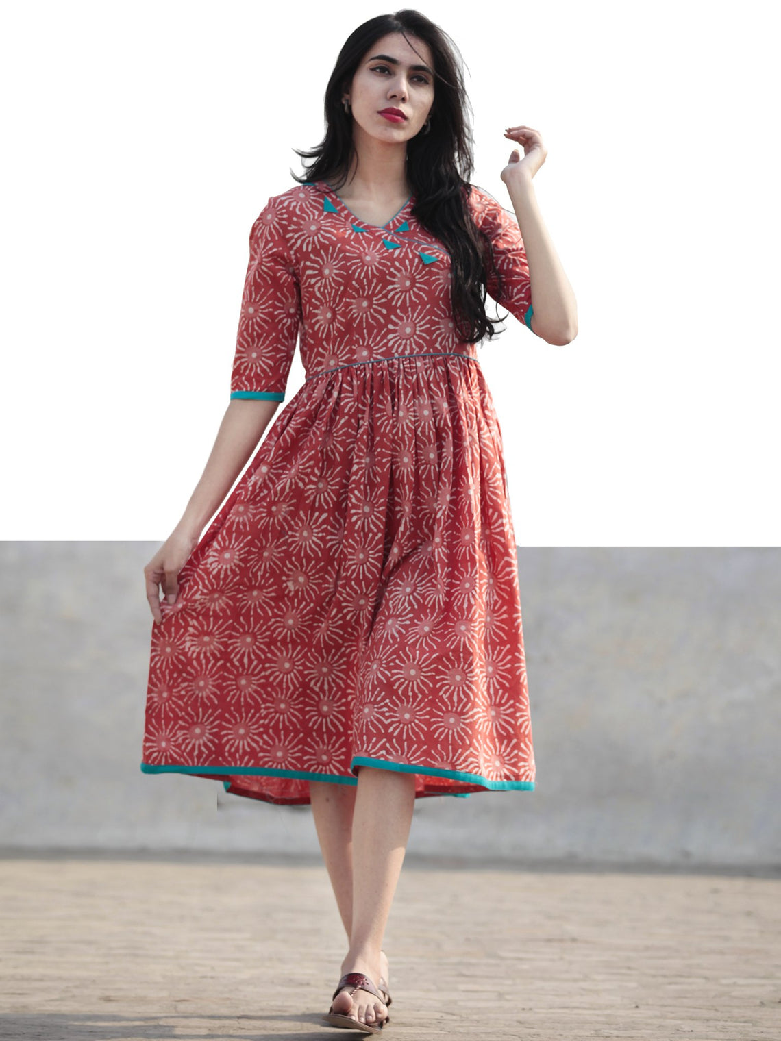 Coral Ivory Teal Green Hand Blocked Cotton Angrakha Style Dress - D211F437