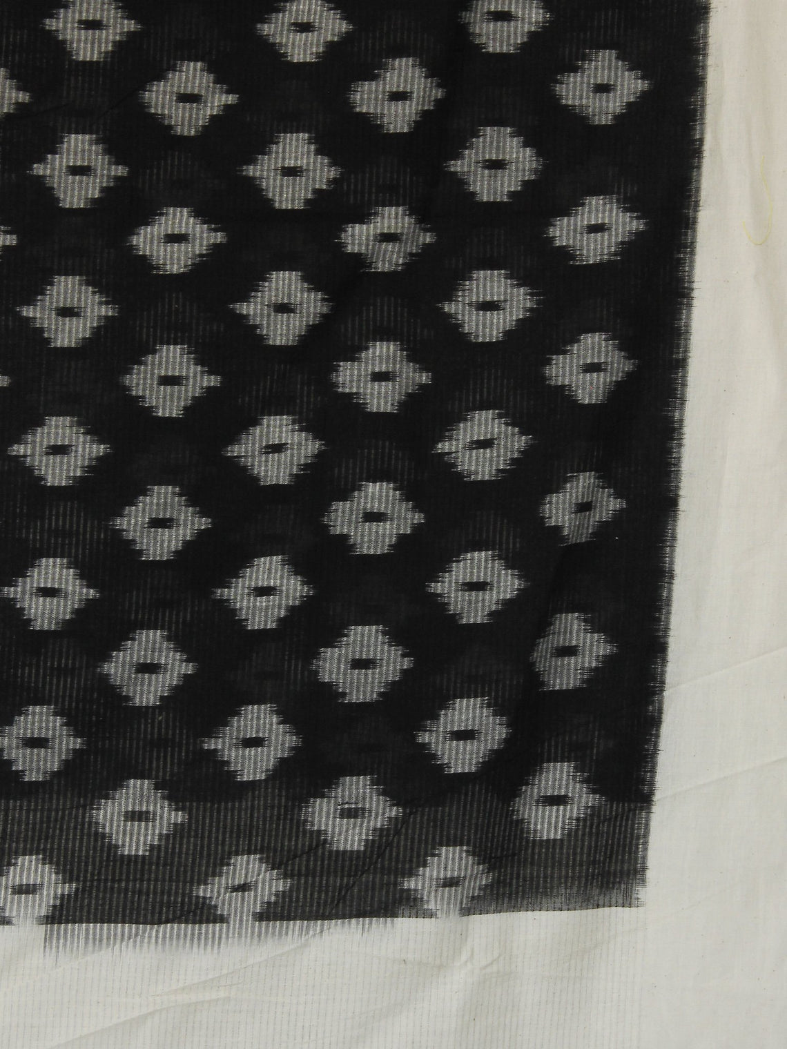 Ivory & Black Ikat Handwoven Pochampally Cotton Dupatta -  D04170149