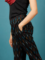 Black Turquoise Blue Red Rust Hand Woven Ikat Cigarette Pants - T032F716