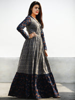 Grey Indigo Rust Hand Block Printed Long Cotton Tier Dress With Gathers - D169F988