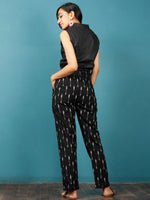 Black White Gery Hand Woven Ikat Trousers - T032F809