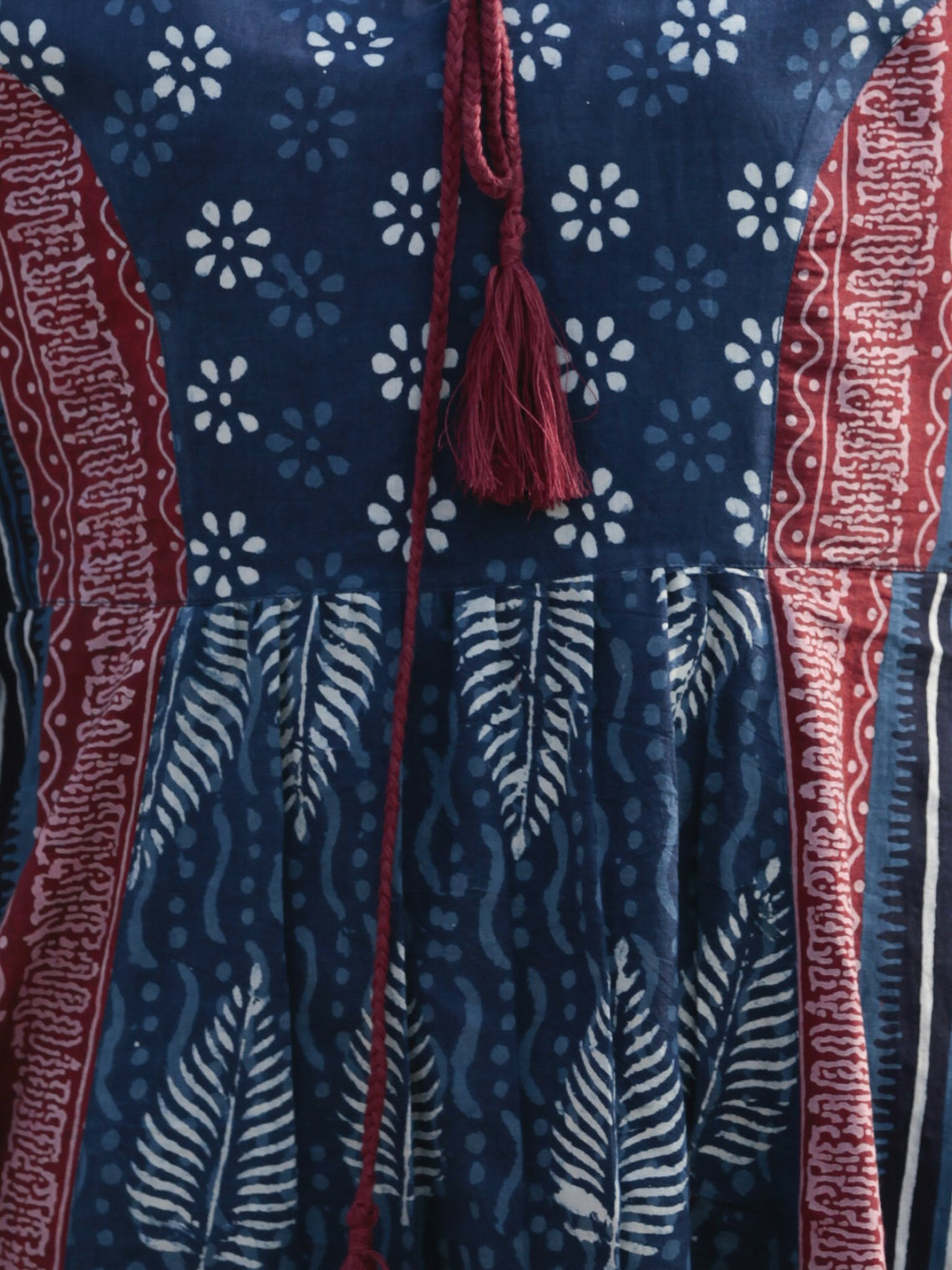 Indigo White Pink Hand Blocked Cotton Middi Dress with Tassels - D212F1115