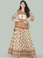 Naaz Bahara - Hand Block Printed Long Embroidered Top & Skirt Dress - DS108F001