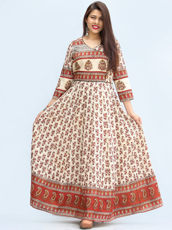 Ayma - Hand Block Printed Long Cotton Dress With Lining - DS01F003