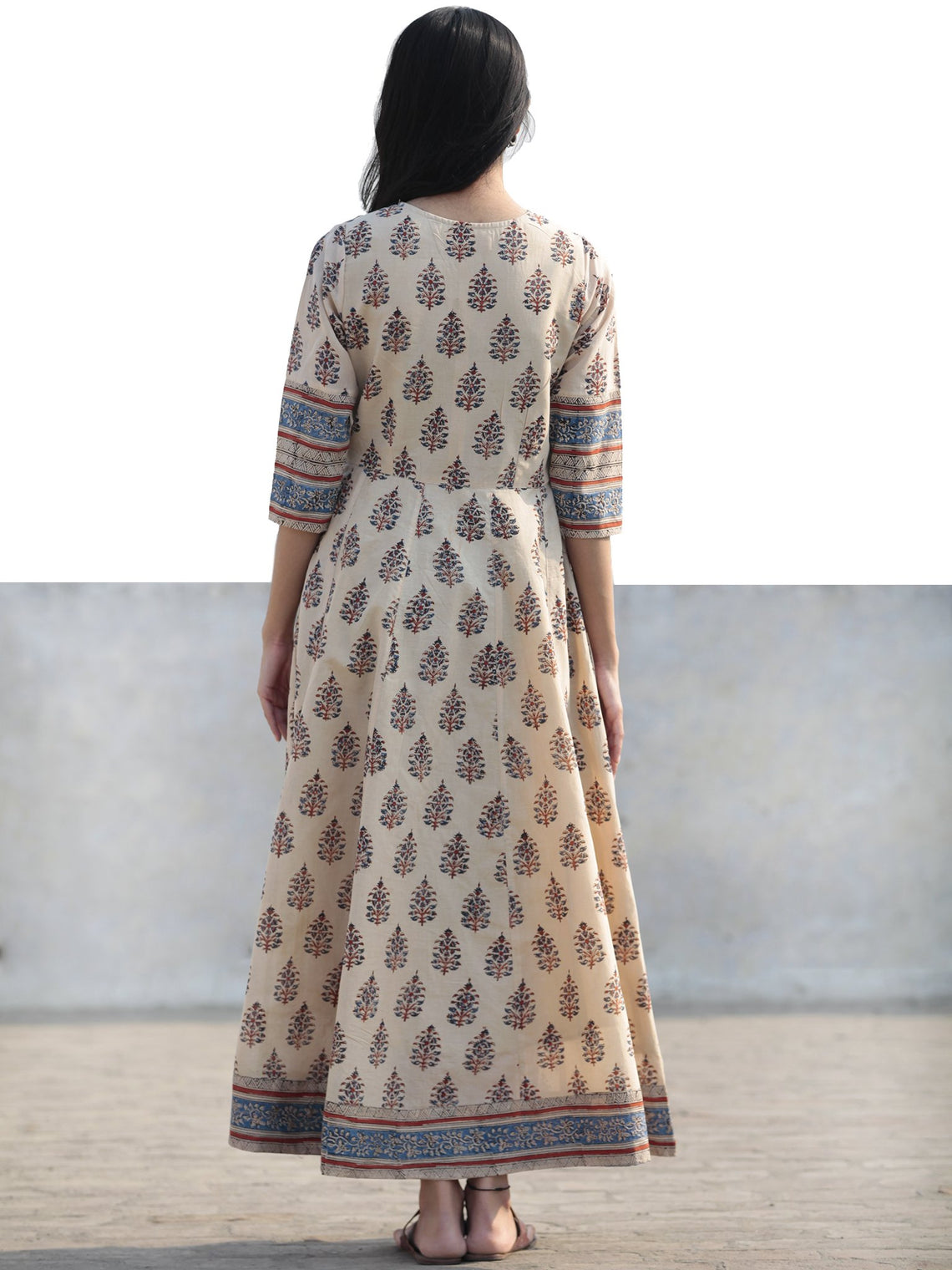 Naaz - Beige Blue Maroon Black Hand Block Printed Long Cotton Dress with Tassels- DS02F004