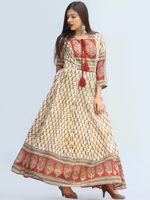Mirza - Hand Block Printed Long Cotton Dress With Lining - DS06F003