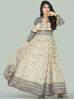 Naaz Fariha - Hand Block Printed Long Cotton Embroidered Dress With Lining - DS109F001
