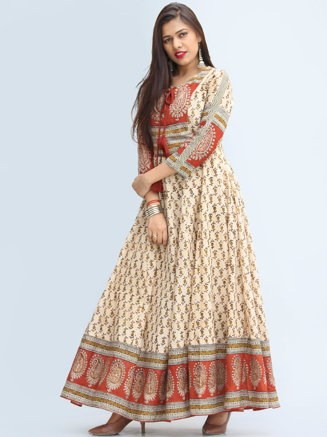 Naaz Mirza - Hand Block Printed Long Cotton Dress With Lining - DS06F003