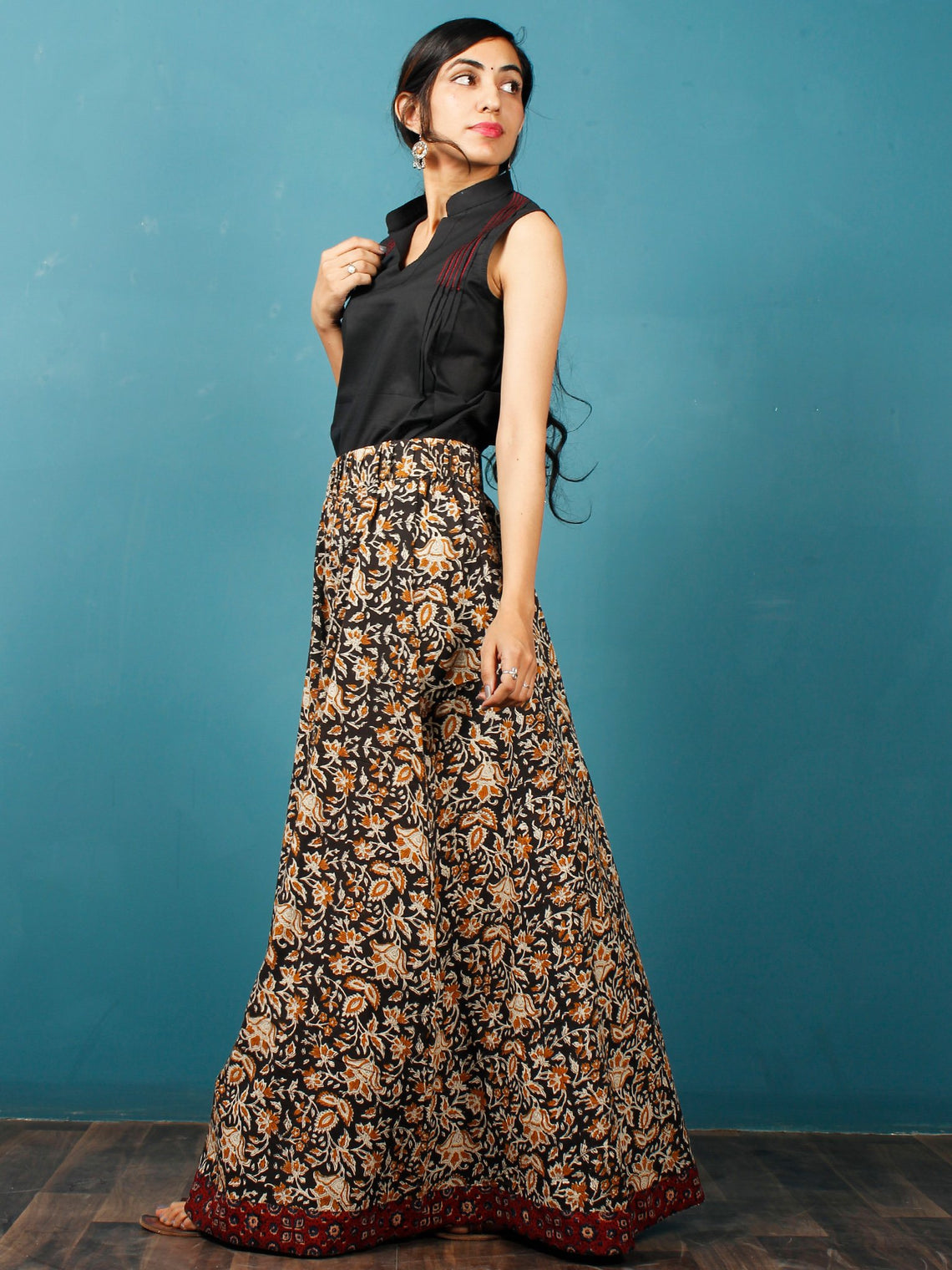Black Mustard Ivory Hand Block Printed Skirt With Maroon Ajrakh Border  - S40F578