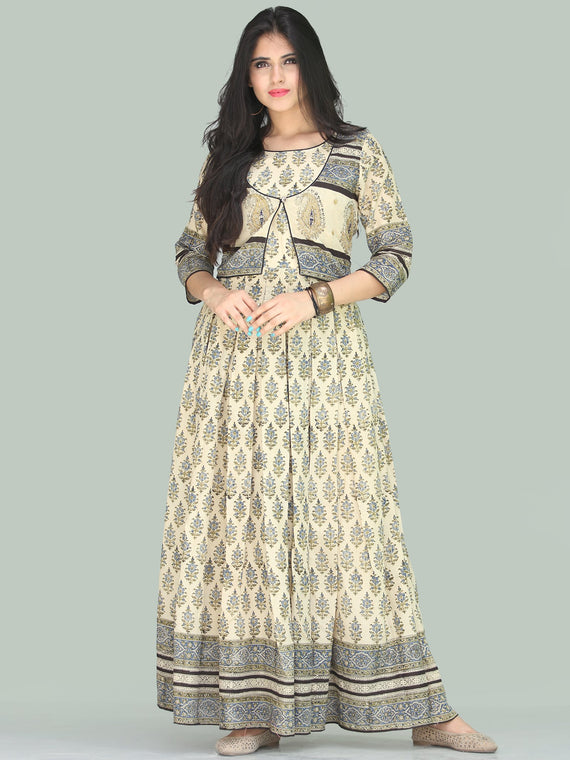 Naaz Jhara - Hand Block Printed Long Cotton Embroidered Jacket Dress - DS110F001