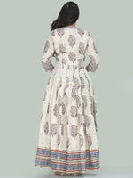Naaz Minaz - Hand Block Printed Long Cotton Dress With Lining - DS111F001