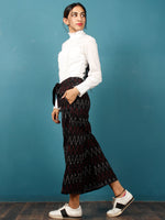 Black Maroon White Hand Woven Ikat Culottes Trousers With Belt- T032F1239