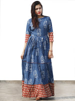 Indigo Red Beige Long Hand Block Paisely Printed Cotton Tier Dress  - D179F1101
